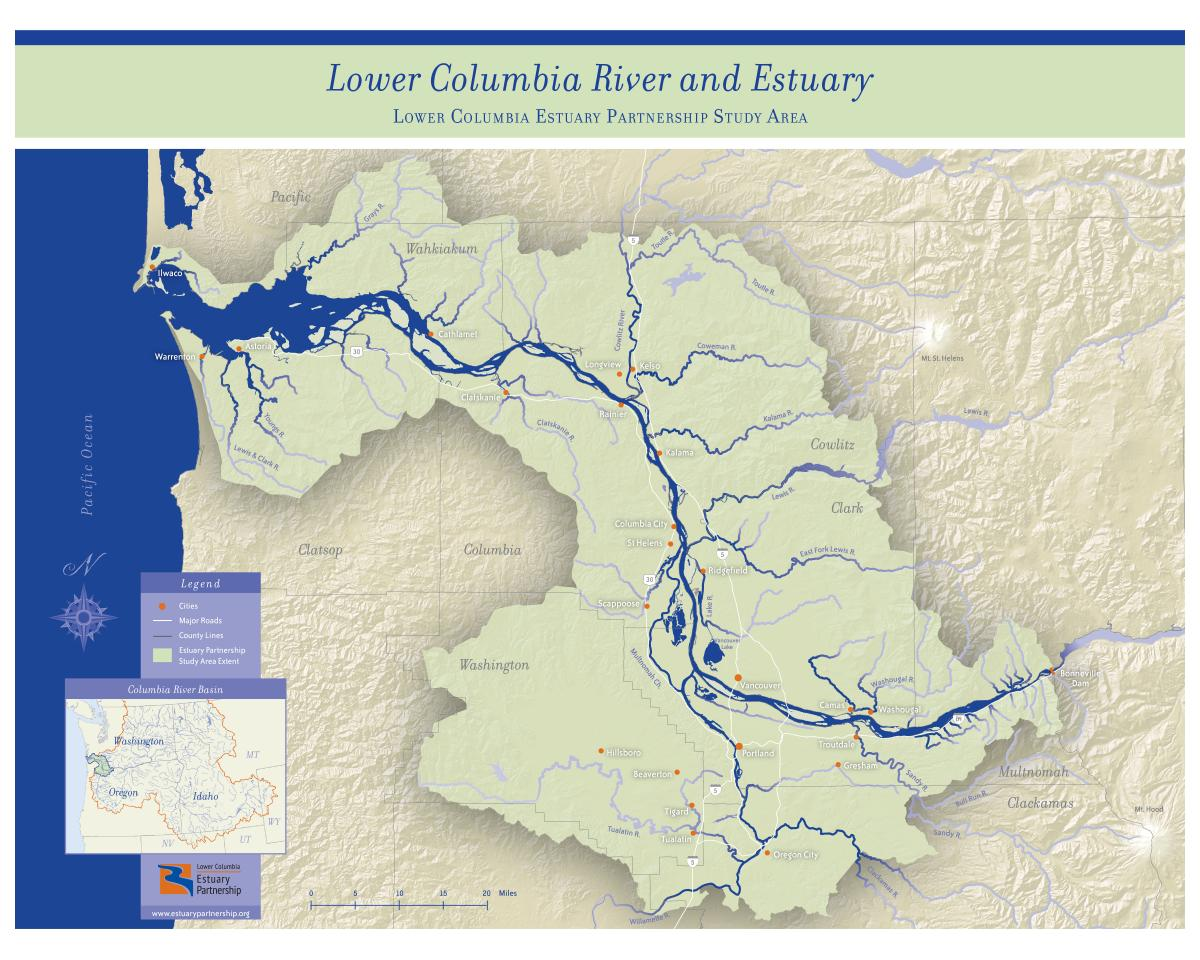 study area map the lower columbia estuary partnership